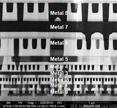 STEM section view of metal layers