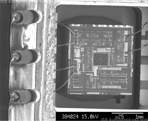 SEM view of die in opened package